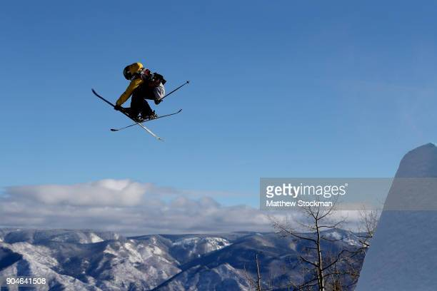 James Woods of Great Britain competes in the Men's Ski Slopestyle final during the Toyota US Grand Prix on January 13 2018 in Snowmass Colorado