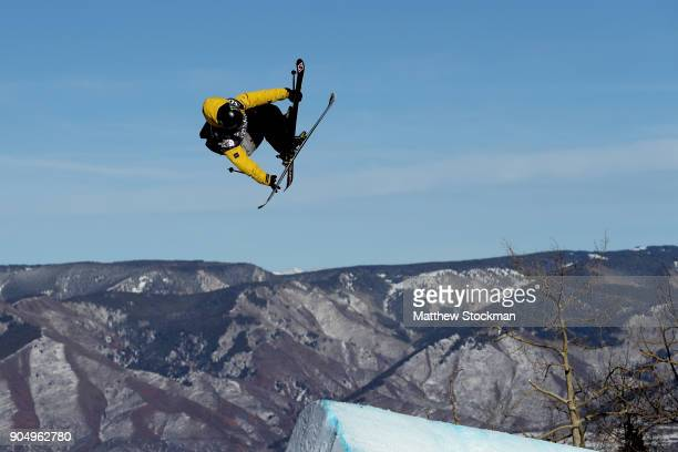James Woods of Great Britain competes in the Men's Ski Slopestyle final during the Toyota US Grand Prix on January 14 2018 in Snowmass Colorado