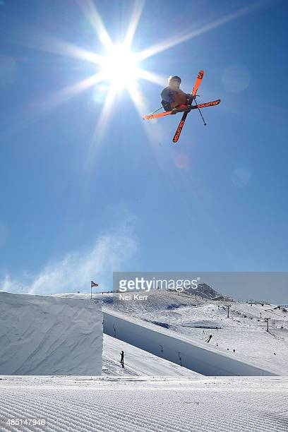James Woods of Great Britain competes in the NZ AFP Freeski Big Air Qualification during the Winter Games NZ at Cardrona Alpine Resort on August 25...