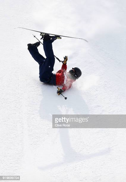 James Woods of Great Britain crashes during the Freestyle Skiing Men's Ski Slopestyle Final on day nine of the PyeongChang 2018 Winter Olympic Games...