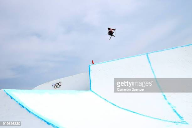 James Woods of Great Britain practices prior to the Freestyle Skiing Men's Ski Slopestyle final on day nine of the PyeongChang 2018 Winter Olympic...