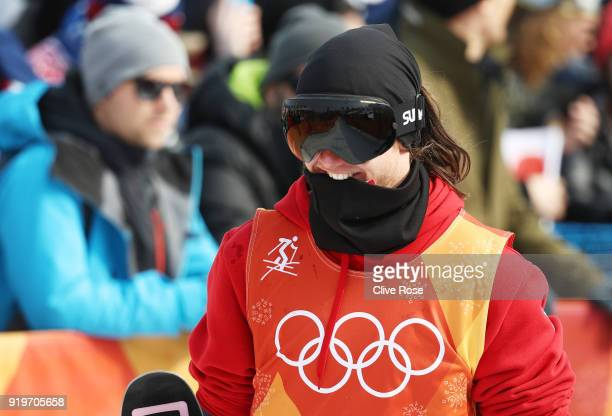 James Woods of Great Britain reacts after his final run during the Freestyle Skiing Men's Ski Slopestyle Final on day nine of the PyeongChang 2018...