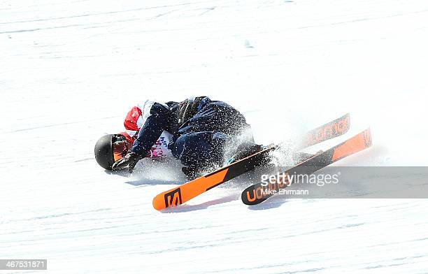 James Woods of Great Britain takes a fall during a Slopestyle official training session ahead of the the Sochi 2014 Winter Olympics at Rosa Khutor...