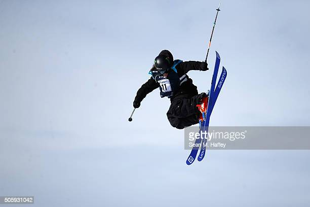James Woods of Great Britain takes a practice run on the Slopestyle course during the 2016 Visa US Freeskiing Grand Prix at Mammoth Mountain Resort...
