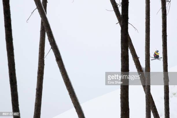James Woods of Great Britain warms up before the start of the Men's Ski Slopestyle qualifier during Day 2 of the Dew Tour on December 14 2017 in...