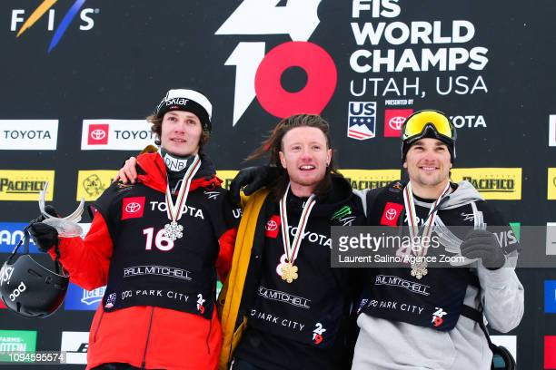 James Woods of Great Britain wins the gold medal Ruud Birk wins the silver medal Nicholas Goepper of USA wins the bronze medal during the FIS World...