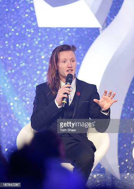 James Woods of Great Britan talks on stage during the British Olympic Ball at The Dorchester on October 30 2013 in London England