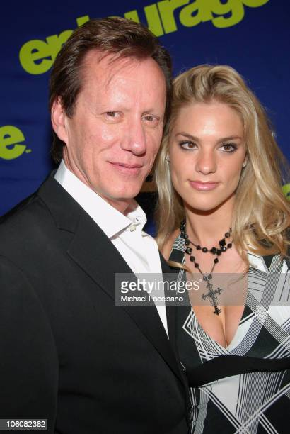 """James Woods with his girlfriend Ashley Madison during """"Entourage"""" Season Three New York Premiere - Arrivals at Skirball Center for the Performing..."""