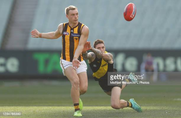 James Worpel of the Hawks and Matthew Parker of the Tigers compete for the ball during the 2021 AFL Round 23 match between the Richmond Tigers and...