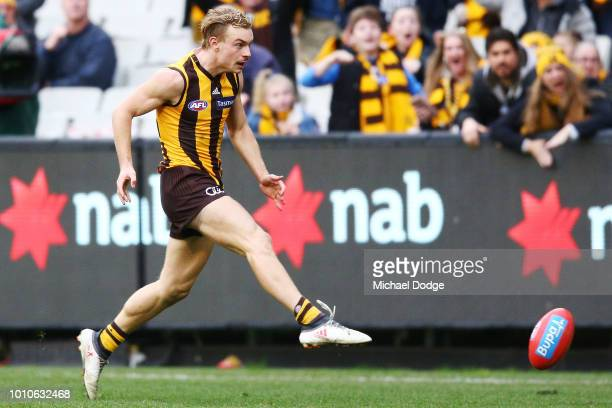 James Worpel of the Hawks kicks the winning goal during the round 20 AFL match between the Hawthorn Hawks and the Essendon Bombers at Melbourne...