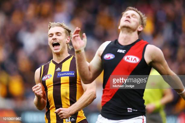 James Worpel of the Hawks who kicked the winning goal celebrates the win on the final siren as Michael Hurley of the Bombers looks dejected during...