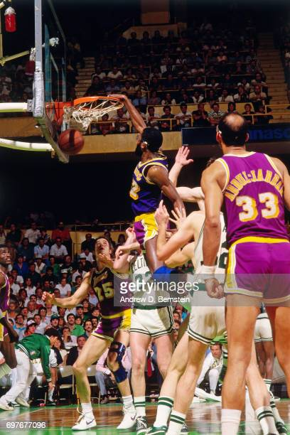 James Worthy of the Los Angeles Lakers dunks against the Boston Celtics during the 1987 NBA Finals circa 1987 at the Boston Garden in Boston...
