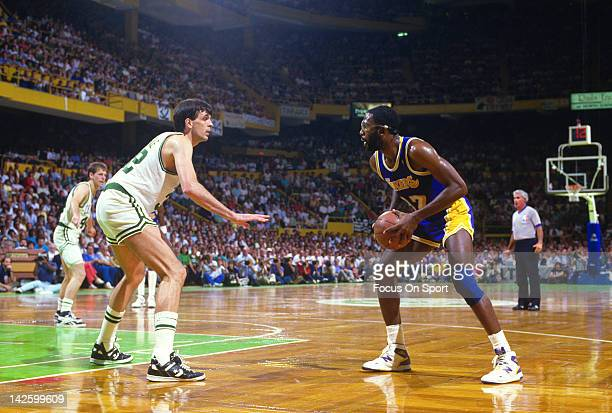 James Worthy of the Los Angeles Lakers looking to put a move on Kevin McHale of the Boston Celtics during the 1987 NBA Basketball Finals at the...