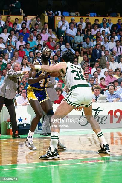 James Worthy of the Los Angeles Lakers looks to make a play against Kevin McHale of the Boston Celtics during the 1987 NBA Finals at the Boston...