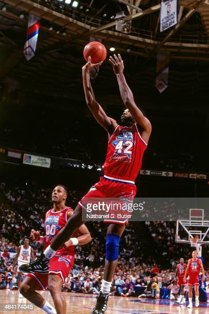 James Worthy of the Western Conference AllStars shoots the ball during the 1991 All Star Game on February 10 1991 at the Charlotte Coliseum in...