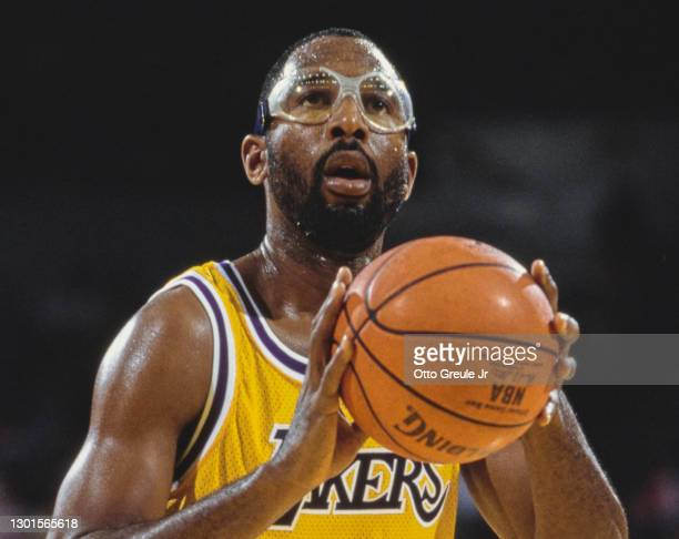 James Worthy, Small Forward and Power Forward for the Los Angeles Lakers prepares to shoot a free throw during the NBA Pacific Division basketball...