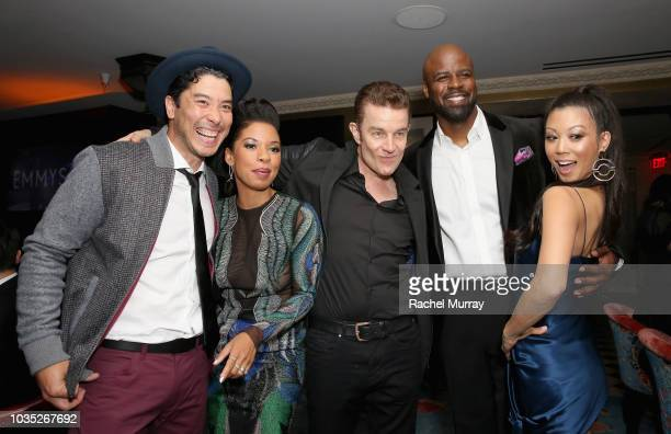 James Yaegashi Angel Parker James Marsters Ryan Sands and Brittany Ishibashi attends Hulu's 2018 Emmy Party at Nomad Hotel Los Angeles on September...