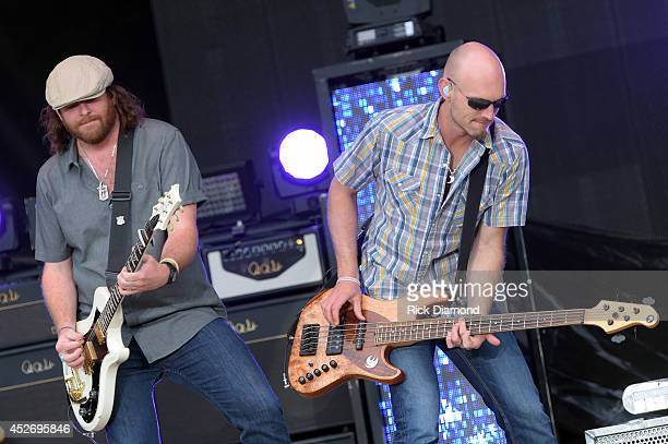 James Young and Jon Jones of Eli Young Band perform at Country Thunder USA Day 2 on July 25 2014 in Twin Lakes Wisconsin