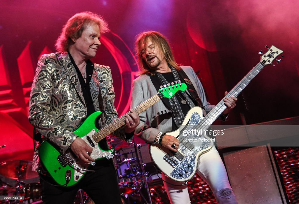 James Young and Ricky Phillips from Styx perform in concert at Northwell Health at Jones Beach Theater on August 16, 2017 in Wantagh, New York.