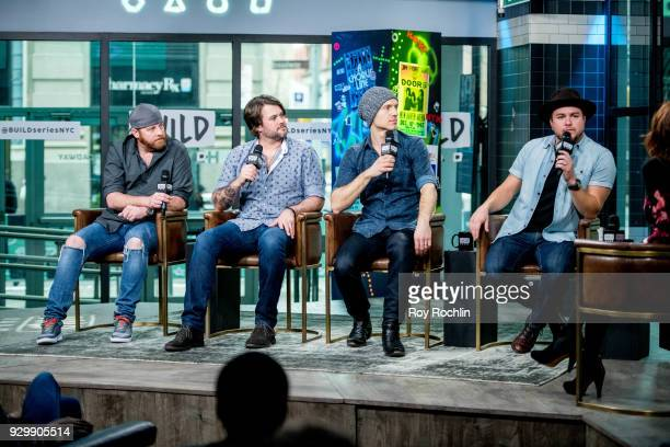James Young Chris Thompson Jon Jones and Mike Eli of Eli Young Band discuss 'Fingerprints' with the Build Series at Build Studio on March 9 2018 in...
