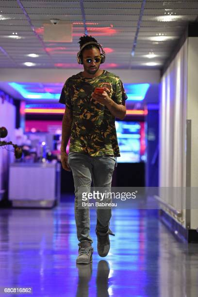 James Young of the Boston Celtics arrives at the arena before Game Four of the Eastern Conference Semifinals against the Washington Wizards during...