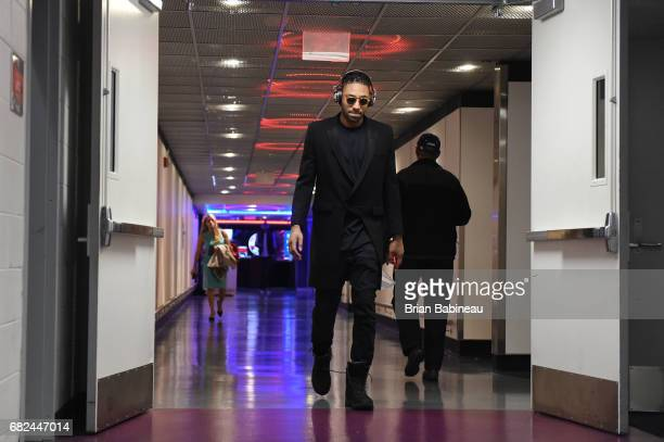 James Young of the Boston Celtics arrives before Game Six of the Eastern Conference Semifinals of the 2017 NBA Playoffs on May 12 2017 at the Verizon...