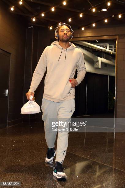 James Young of the Boston Celtics arrives before the game against the Cleveland Cavaliers in Game One of the Eastern Conference Finals during the...