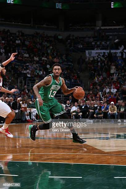 James Young of the Boston Celtics drives to the basket against the Milwaukee Bucks on April 15 2015 at the BMO Harris Bradley Center in Milwaukee...