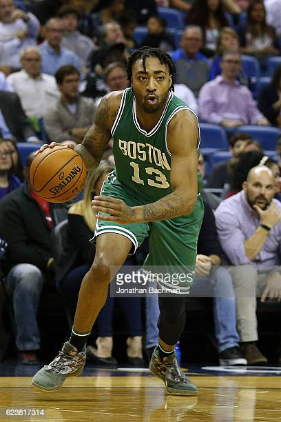 James Young of the Boston Celtics drives with the ball during a game against the New Orleans Pelicans at the Smoothie King Center on November 14 2016...