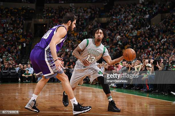 James Young of the Boston Celtics handles the ball against the Sacramento Kings during the game on December 2 2016 at the TD Garden in Boston...