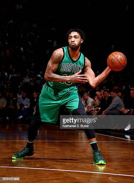 James Young of the Boston Celtics handles the ball against the Brooklyn Nets on January 4 2016 at Barclays Center in Brooklyn New York NOTE TO USER...