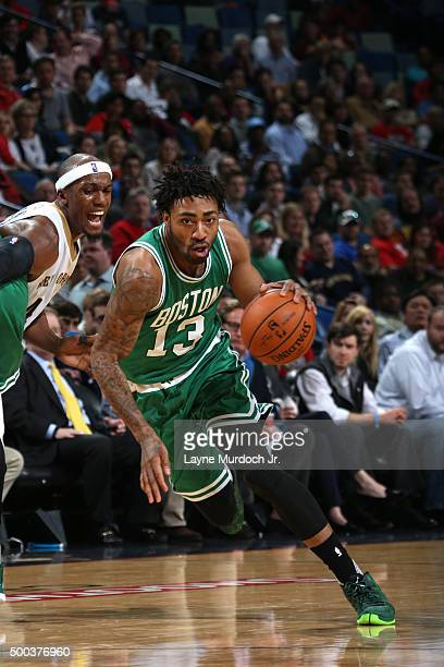 James Young of the Boston Celtics handles the ball against the New Orleans Pelicans on December 7 2015 at the Smoothie King Center in New Orleans...