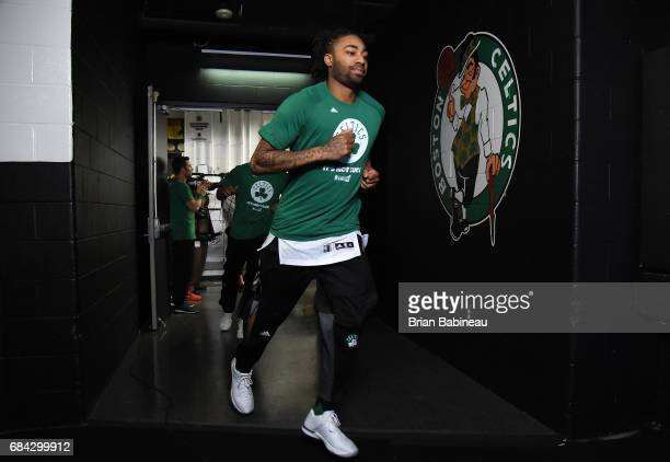 James Young of the Boston Celtics heads out to the court before the game against the Cleveland Cavaliers during Game One of the Eastern Conference...