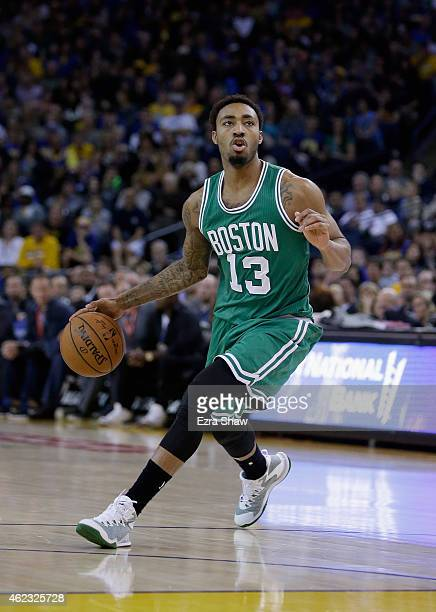 James Young of the Boston Celtics in action against the Golden State Warriors at ORACLE Arena on January 25 2015 in Oakland California NOTE TO USER...