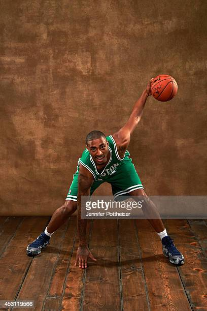 James Young of the Boston Celtics poses for a portrait during the 2014 NBA rookie photo shoot on August 3 2014 at the Madison Square Garden Training...