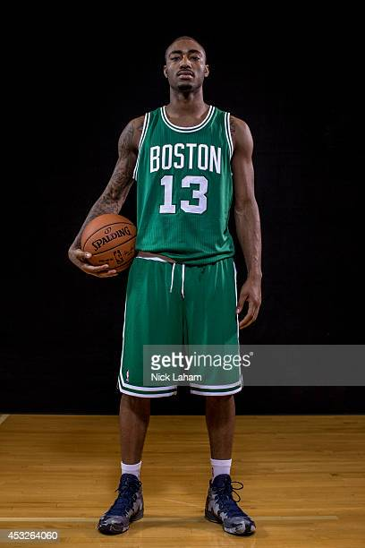 James Young of the Boston Celtics poses for a portrait during the 2014 NBA rookie photo shoot at MSG Training Center on August 3 2014 in Tarrytown...