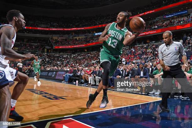 James Young of the Boston Celtics saves a ball from going out of bounds in Game Four of the Eastern Conference Semifinals against the Washington...