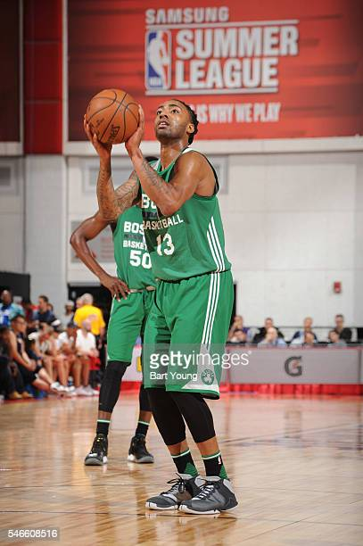 James Young of the Boston Celtics shoots a free throw against the Dallas Mavericks during the 2016 NBA Las Vegas Summer League game on July 12 2016...