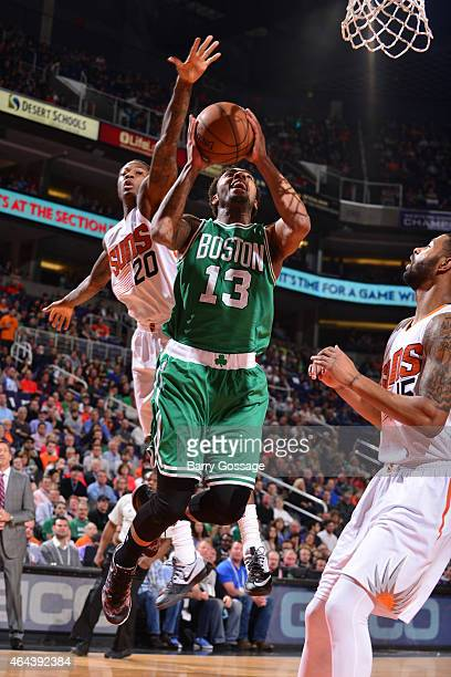 James Young of the Boston Celtics shoots against the Phoenix Suns on February 23 2015 at US Airways Center in Phoenix Arizona NOTE TO USER User...