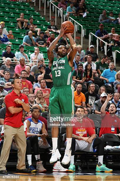 James Young of the Boston Celtics shoots the ball against the Philadelphia 76ers during the NBA Summer League on July 6 2015 at EnergySolutions Arena...