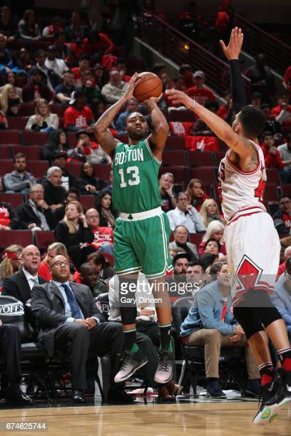 James Young of the Boston Celtics shoots the ball against the Chicago Bulls in Game Six of the Eastern Conference Quartefinals of the 2017 NBA...