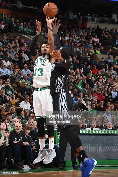 James Young of the Boston Celtics shoots the ball during the game against the Minnesota Timberwolves on December 21 2015 at TD Garden in Boston...