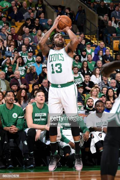 James Young of the Boston Celtics shoots the ball during the game against the Milwaukee Bucks on March 29 2017 at TD Garden in Boston Massachusetts...