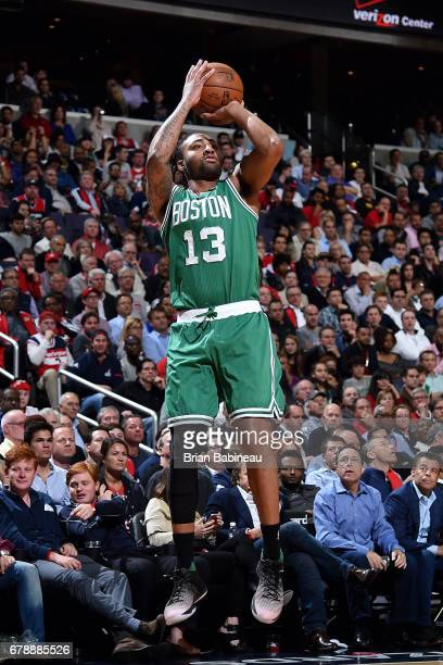 James Young of the Boston Celtics shoots the ball during the game against the Washington Wizards during Game Three of the Eastern Conference...
