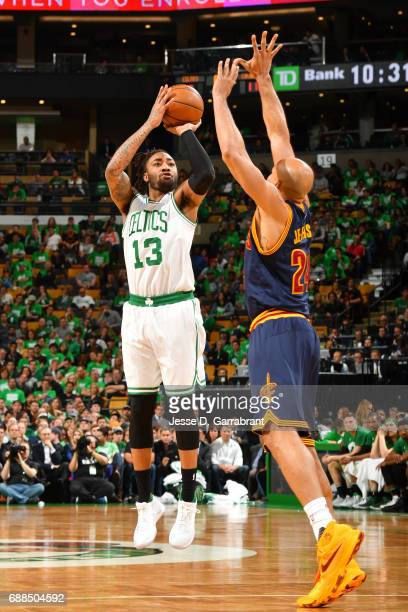 James Young of the Boston Celtics shoots the ball during the game against the Cleveland Cavaliers during Game Five of the Eastern Conference Finals...