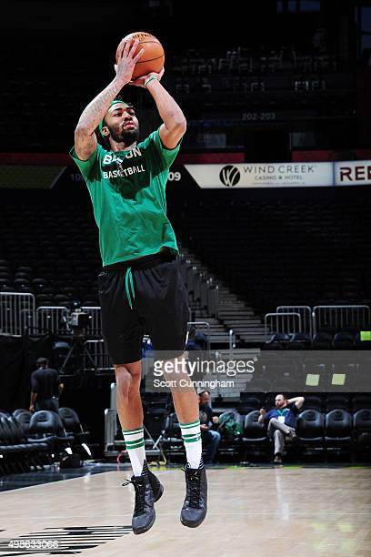 James Young of the Boston Celtics warms up before the game against the Atlanta Hawks on November 24 2015 at Philips Arena in Atlanta Georgia NOTE TO...