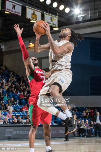 James Young of the Delaware 87ers goes to the basket against the Maine Red Claws during a GLeague game on March 13 2018 at the Bob Carpenter Center...
