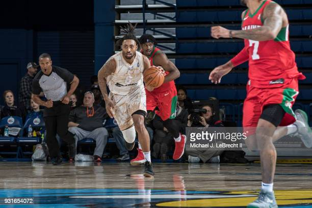 James Young of the Delaware 87ers handles the ball against the Maine Red Claws during a GLeague game on March 13 2018 at the Bob Carpenter Center in...