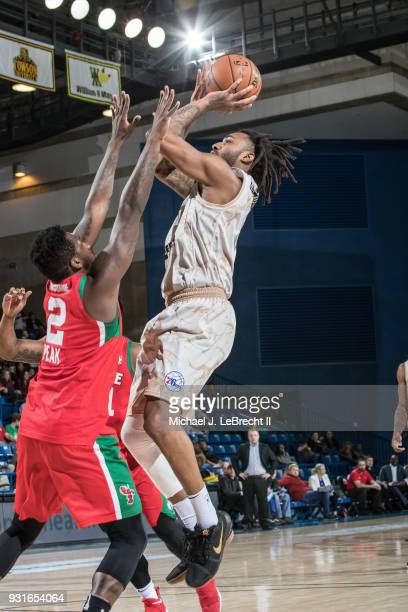 James Young of the Delaware 87ers shoots the ball against the Maine Red Claws during a GLeague game on March 13 2018 at the Bob Carpenter Center in...