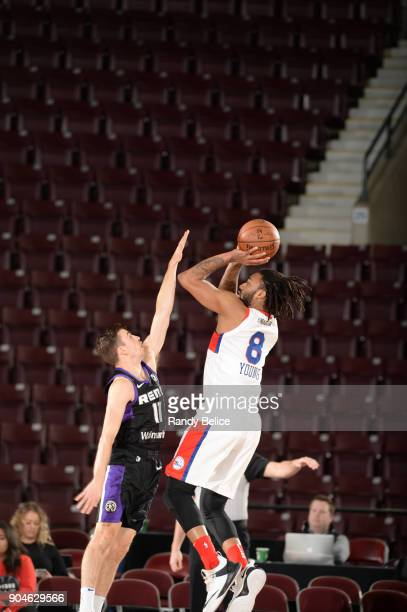 James Young of the Delaware 87ers shoots the ball against the Reno Bighorns during NBA GLeague Showcase Game 26 on January 13 2018 at the Hershey...